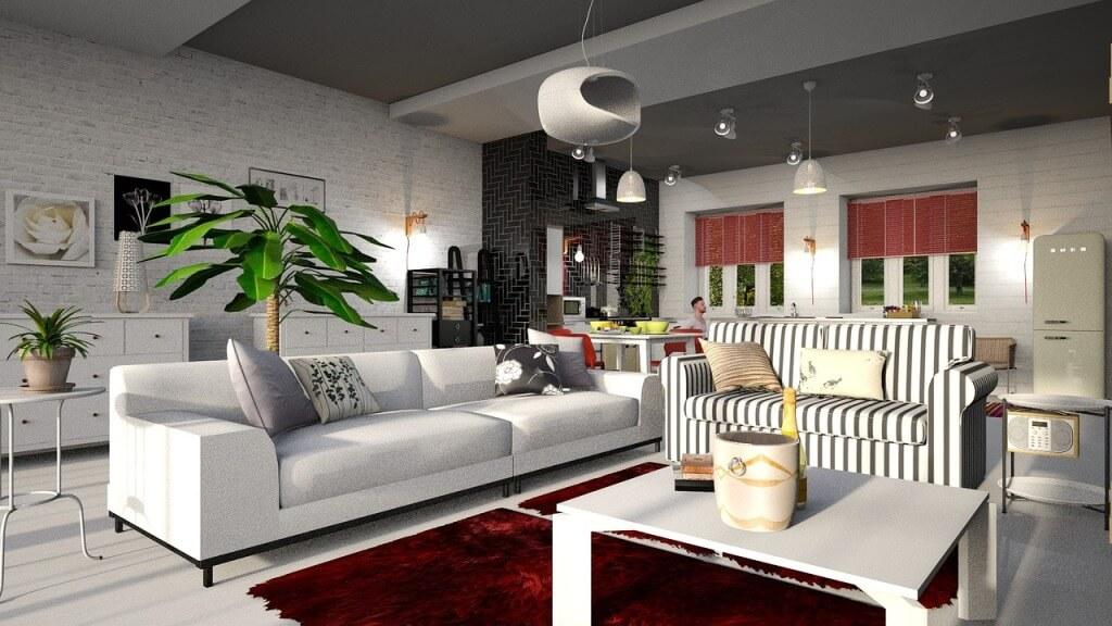 Неодинаковая мебель в современной гостиной