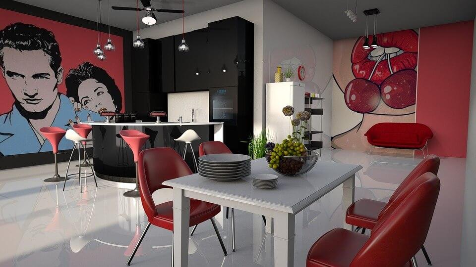 кухня с красочными картинками