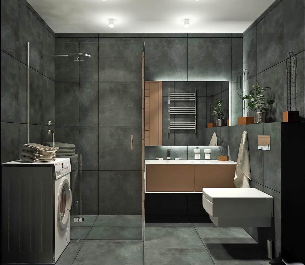 Фото дизайна ванной комнаты в серых тонах