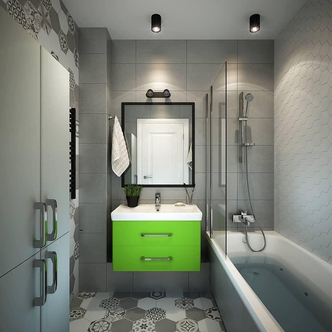 Интересный рисунок на полу в серой ванной