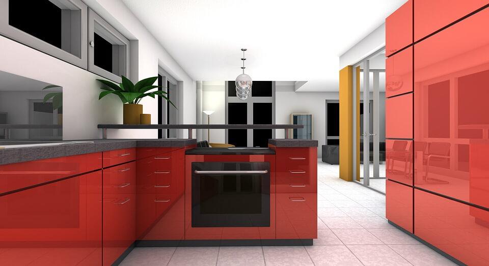 кухня в красно-белом цвете с глянцевым фасадом и металлическими вставками