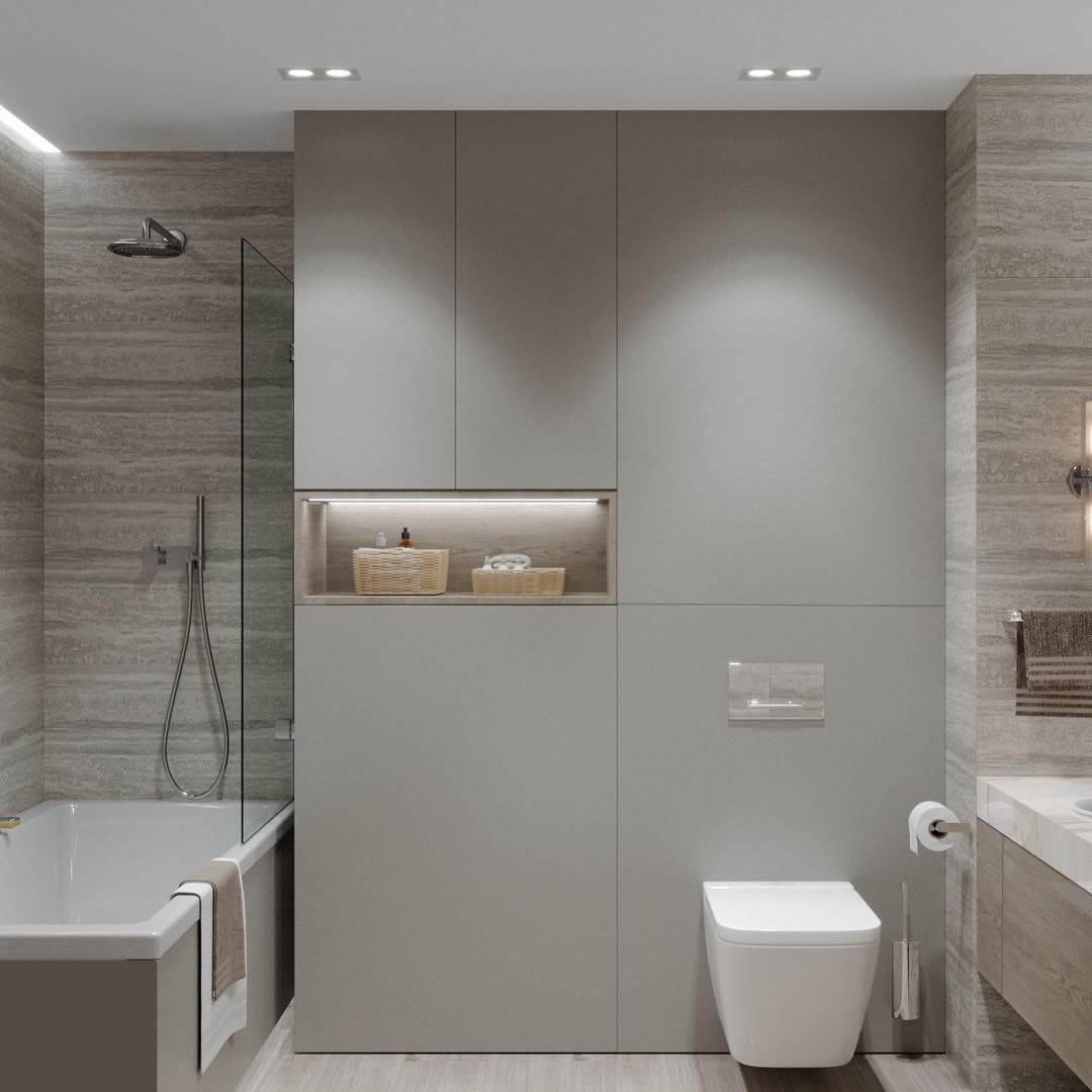 Подвесная конструкция в светлой ванной