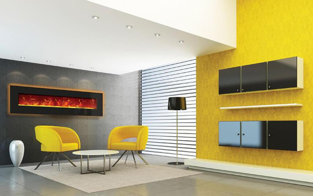 Желтый в гостиной в стиле минимализм