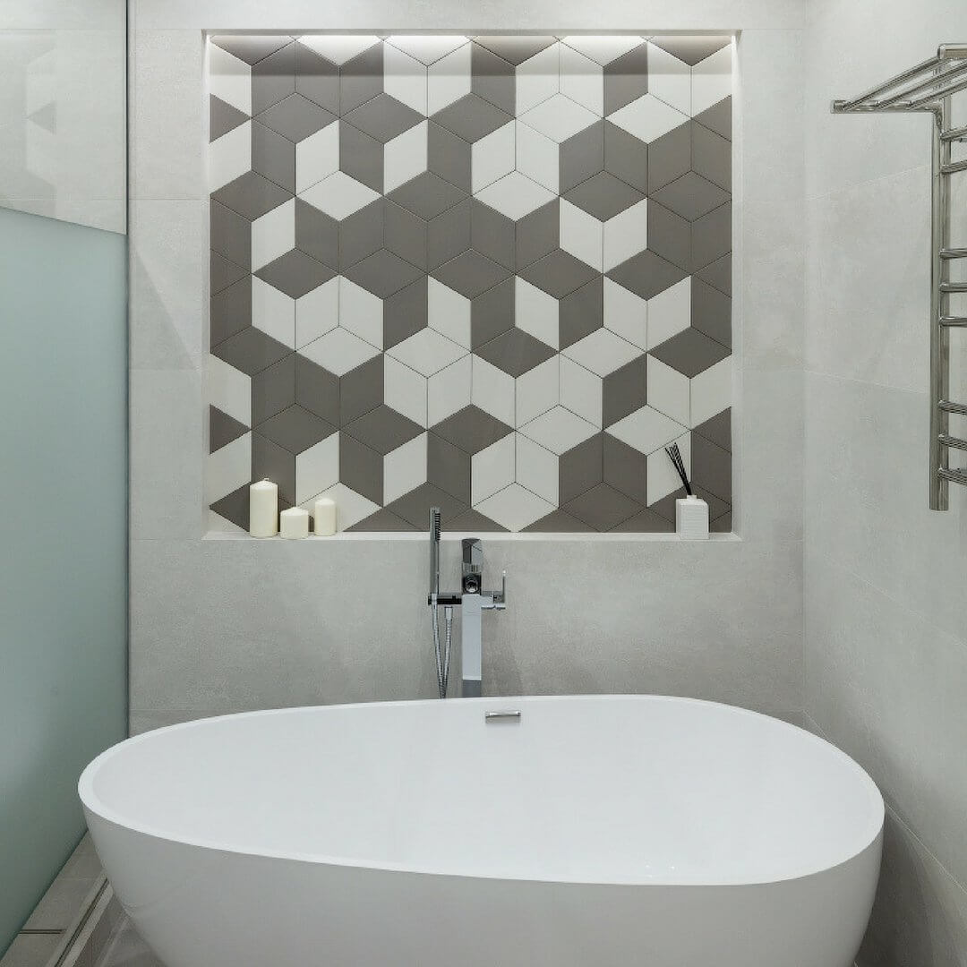 Лаконичная серая ванная комната