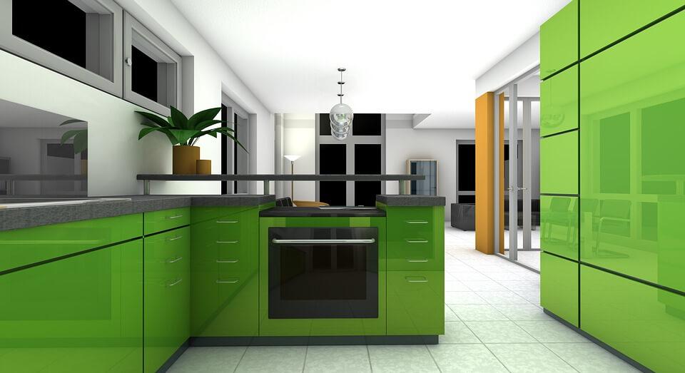 серая кухня с зелеными акцентами