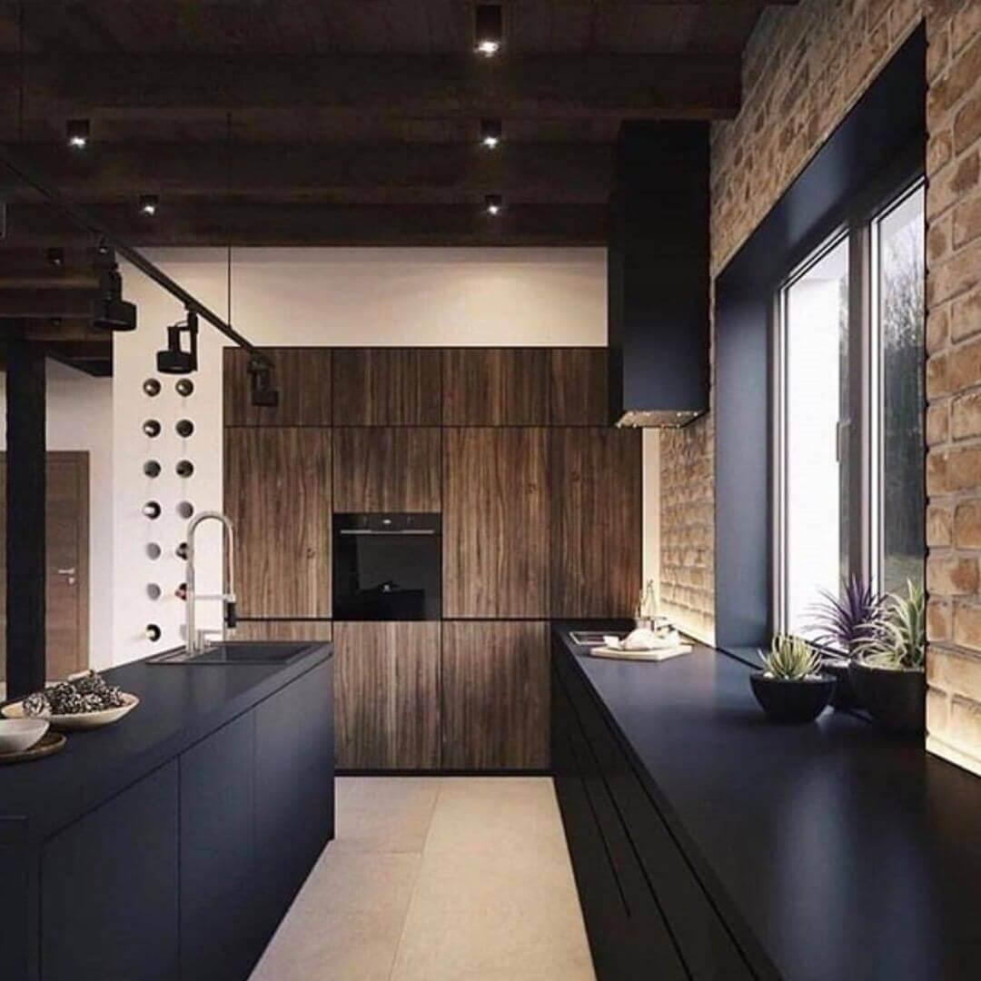 черно-коричневая кухонный лофт-интерьер