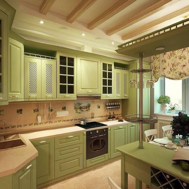 Фисташковая кухня с коричневой плитой