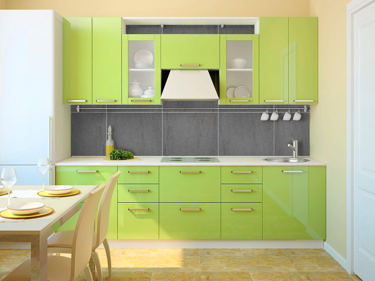 фисташковый и персиковый в интерьере кухни