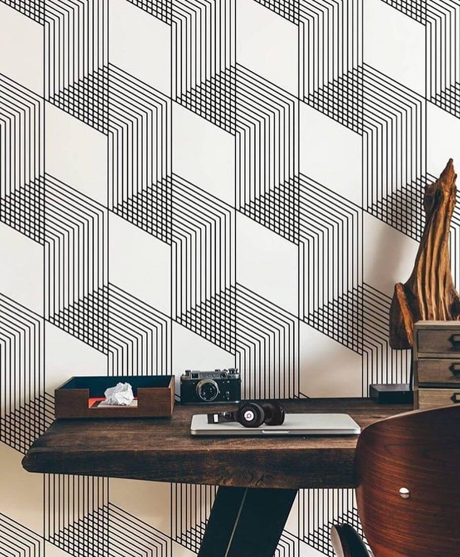 Геометрический узор 3D в черно-белом итерьере