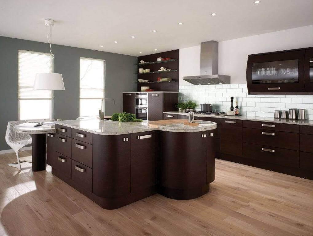 современная коричневая кухня цвета венге