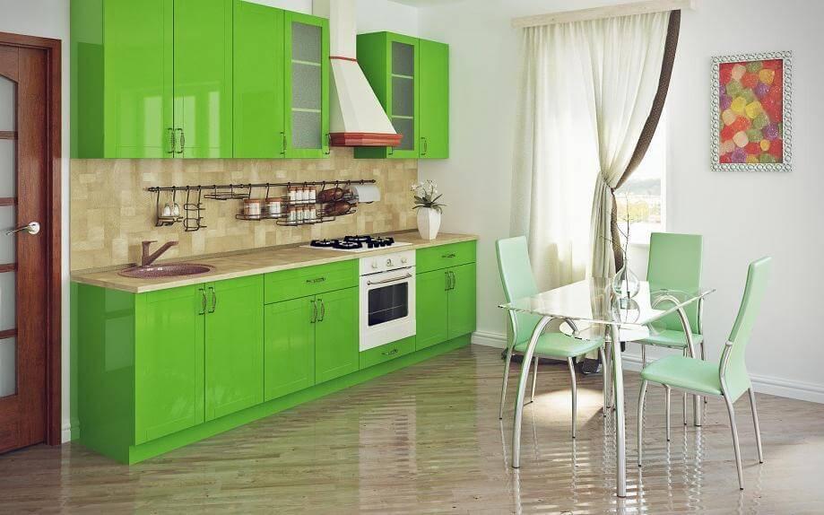роддома кухни в вишнева зеленом цвете фото фотообоев интерьере изображением