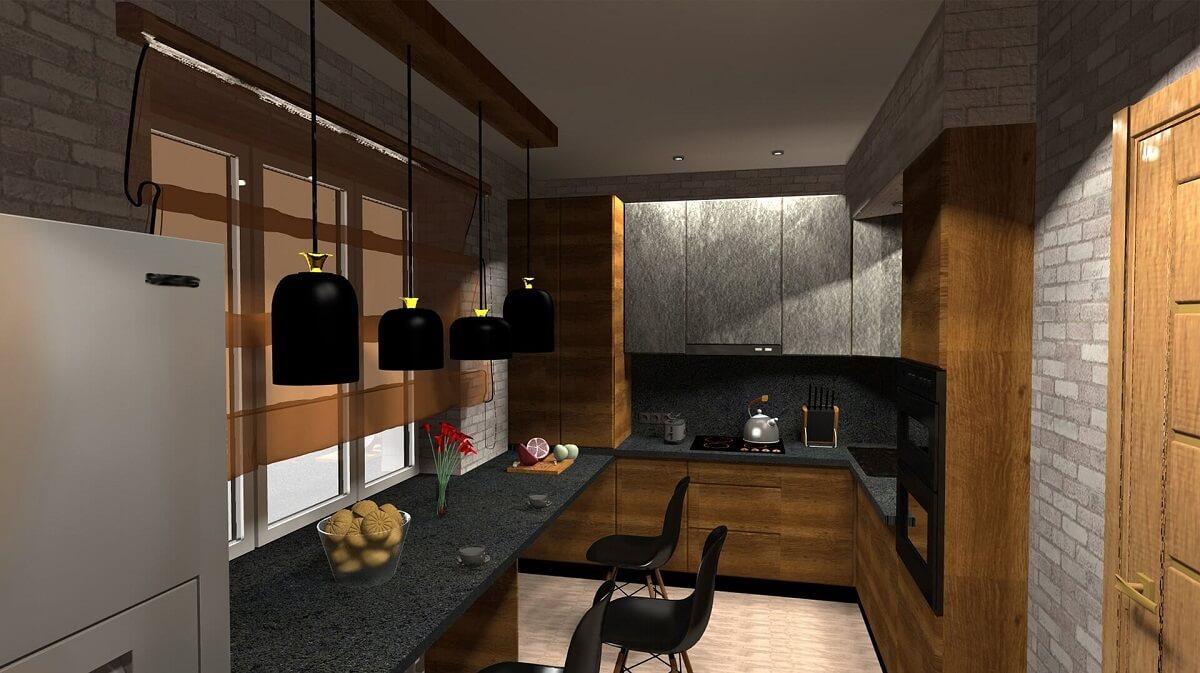 серо-коричневая кухня с черными аксессуарами